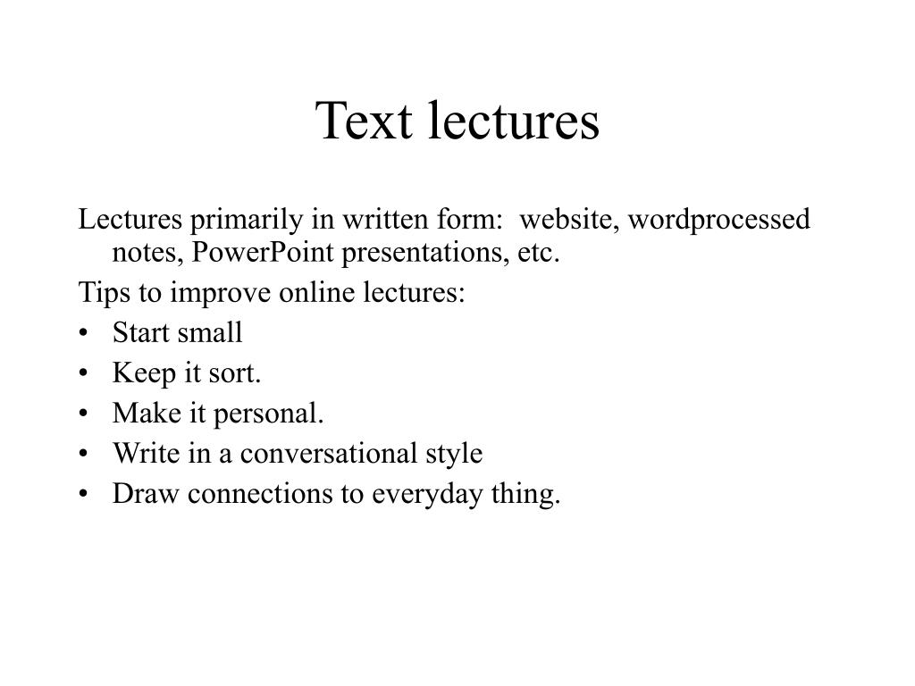 Text lectures