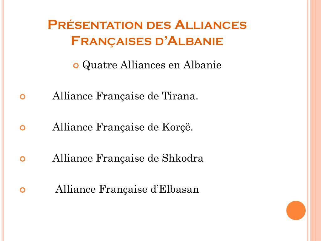 Présentation des Alliances Françaises d'Albanie