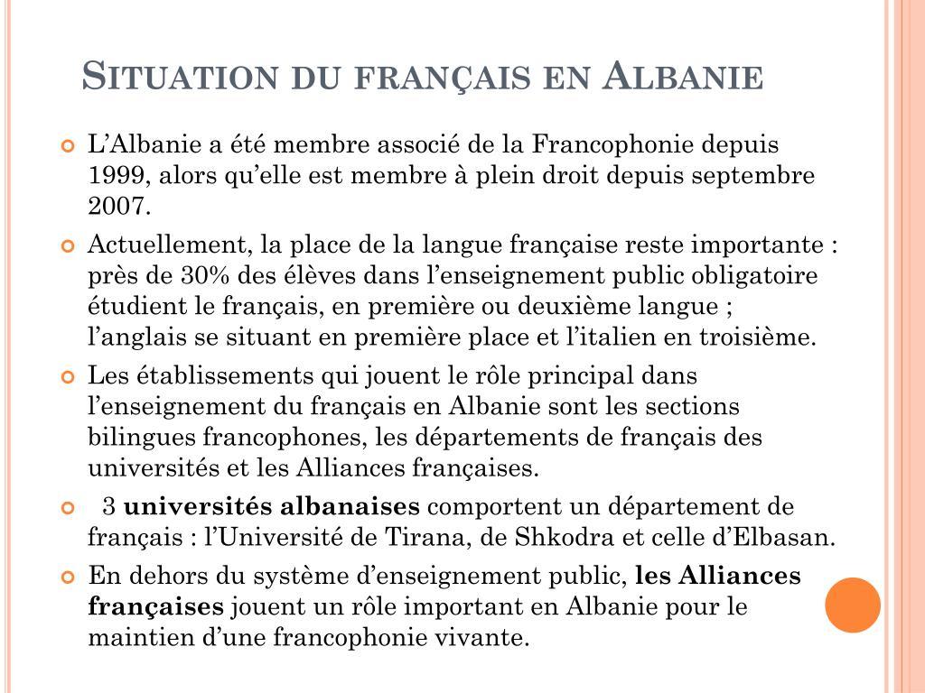 Situation du français en Albanie
