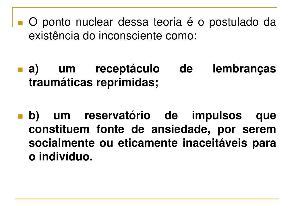O ponto nuclear dessa teoria é o postulado da existência do inconsciente como: