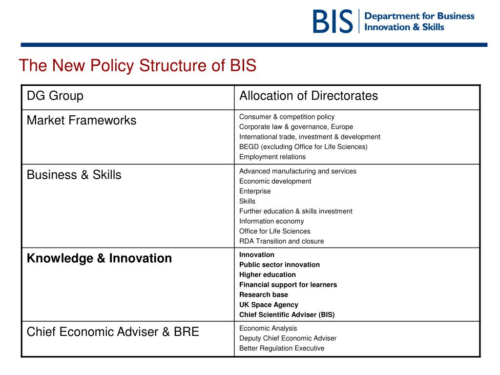 The New Policy Structure of BIS