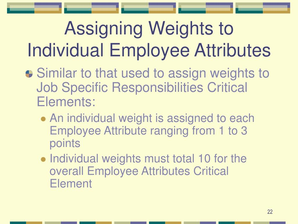 Assigning Weights to Individual Employee Attributes