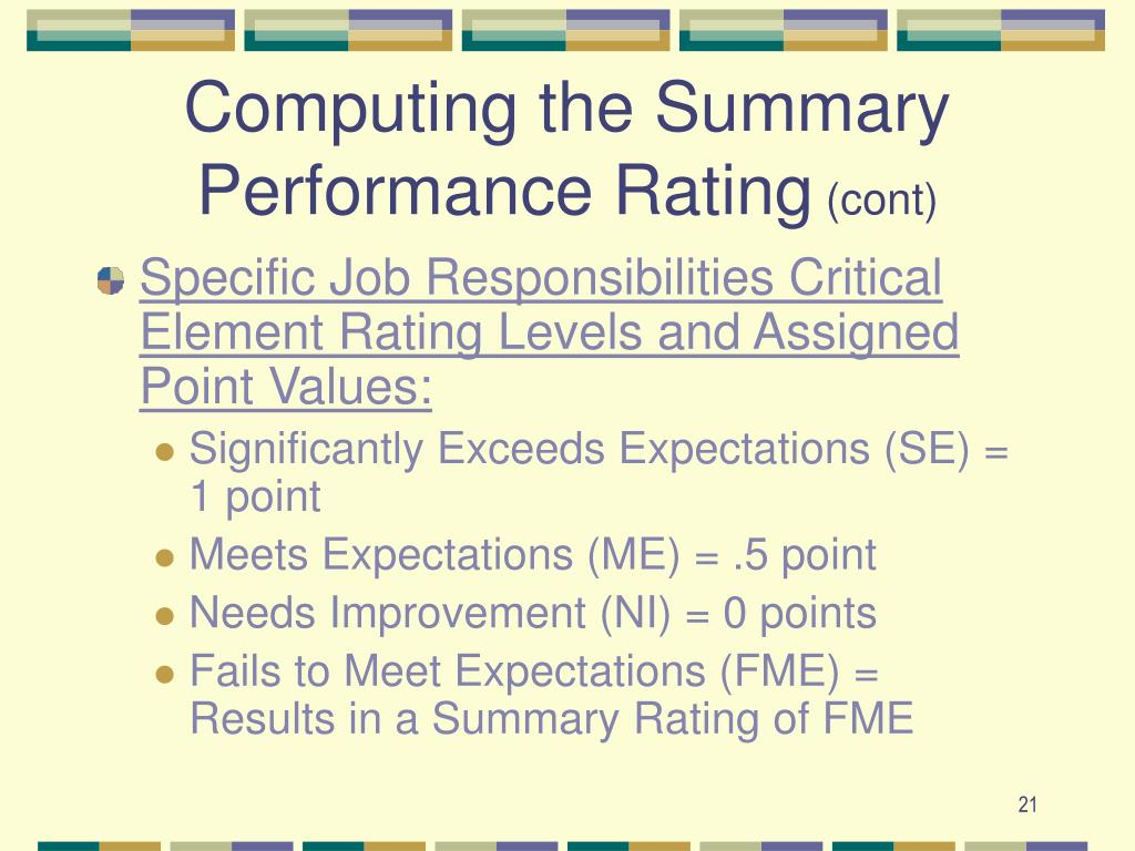 Computing the Summary Performance Rating