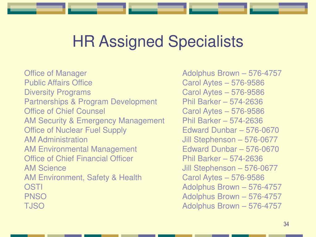 HR Assigned Specialists