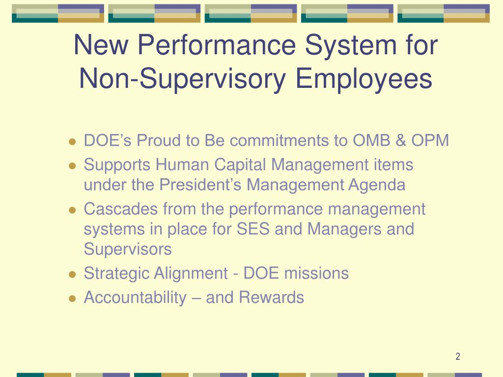 New Performance System for Non-Supervisory Employees