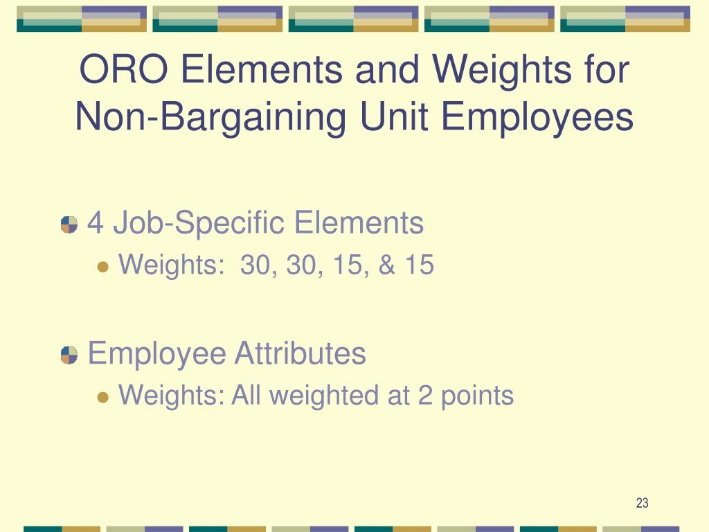 ORO Elements and Weights for Non-Bargaining Unit Employees