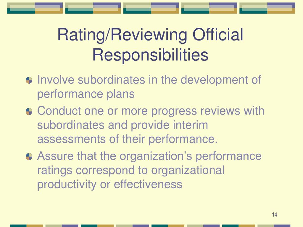 Rating/Reviewing Official Responsibilities