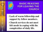 basic reasons for leaving the church