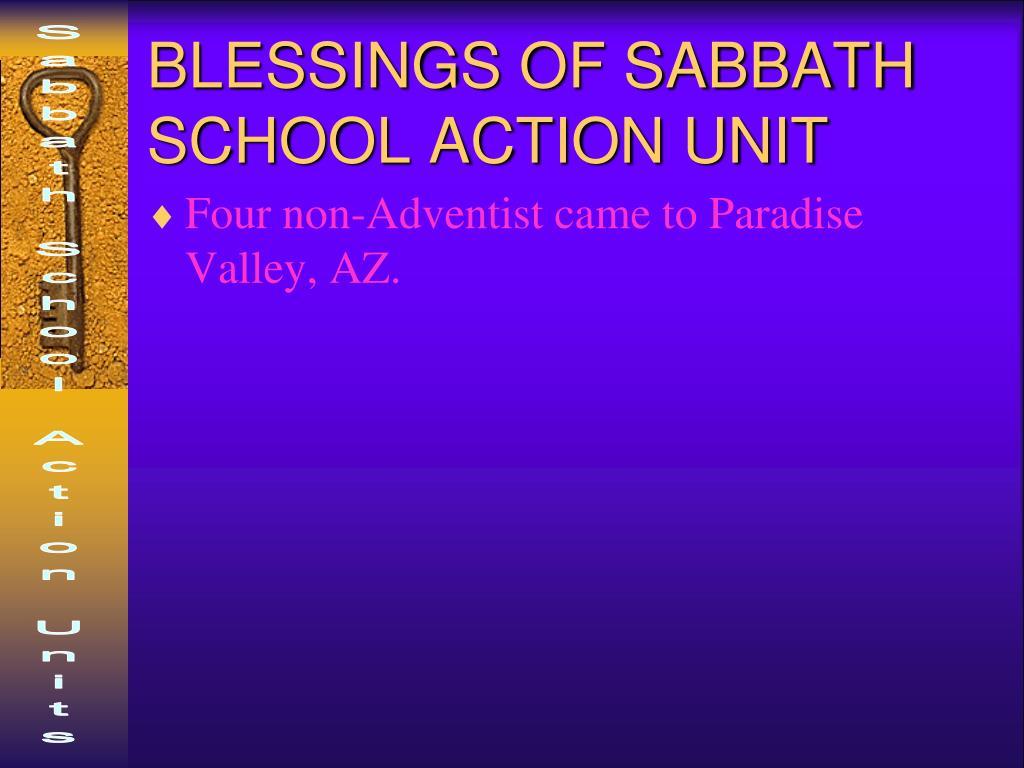 BLESSINGS OF SABBATH SCHOOL ACTION UNIT