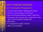 class planning session care coordinator s preparation