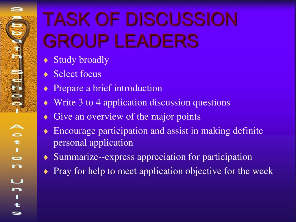 TASK OF DISCUSSION GROUP LEADERS