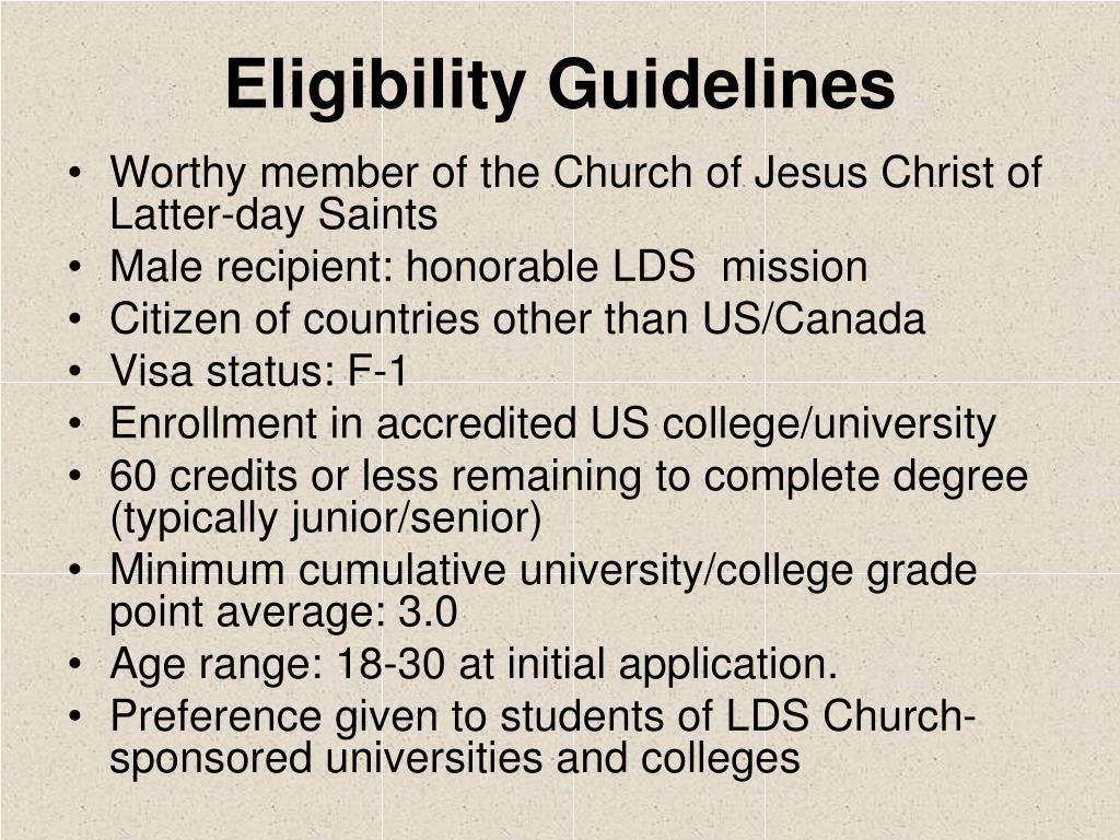 Eligibility Guidelines