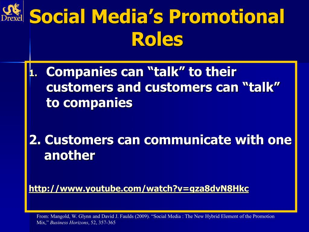 Social Media's Promotional Roles