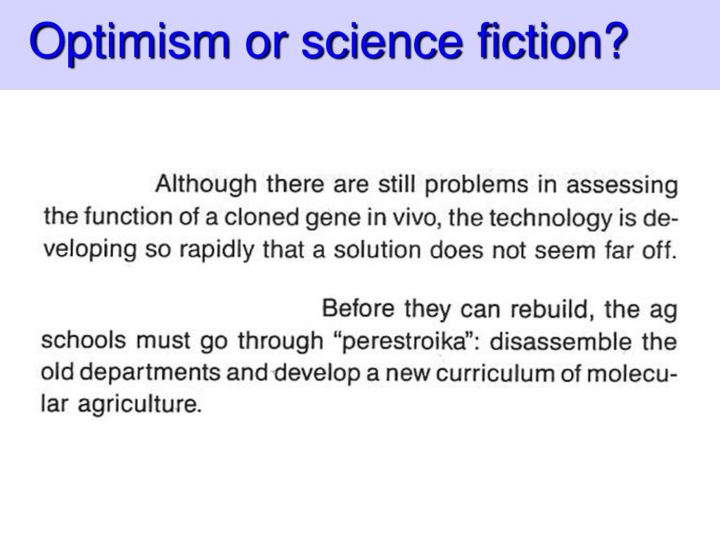 Optimism or science fiction?