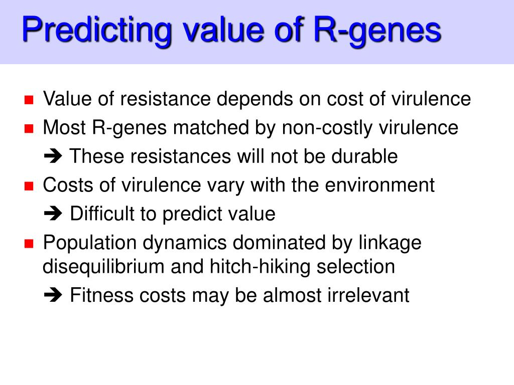 Predicting value of R-genes
