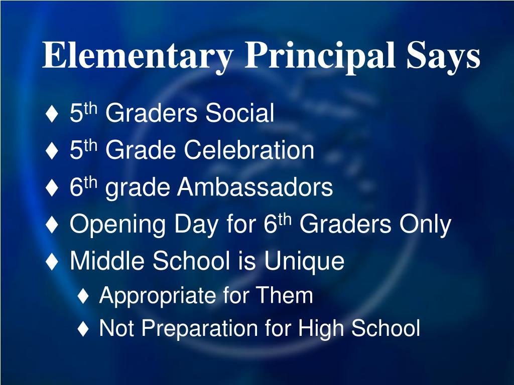 Elementary Principal Says