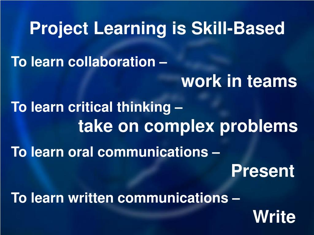 Project Learning is Skill-Based