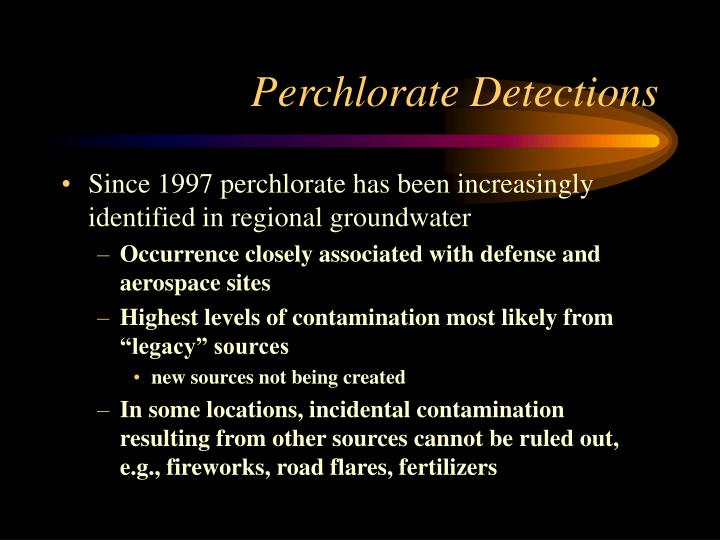 Perchlorate detections