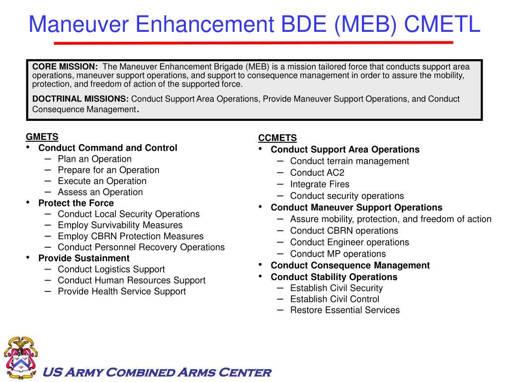 Maneuver Enhancement BDE (MEB) CMETL