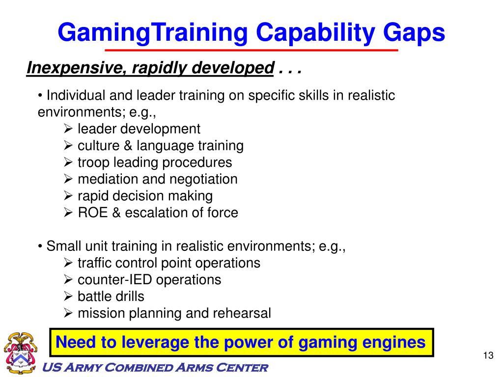 GamingTraining Capability Gaps