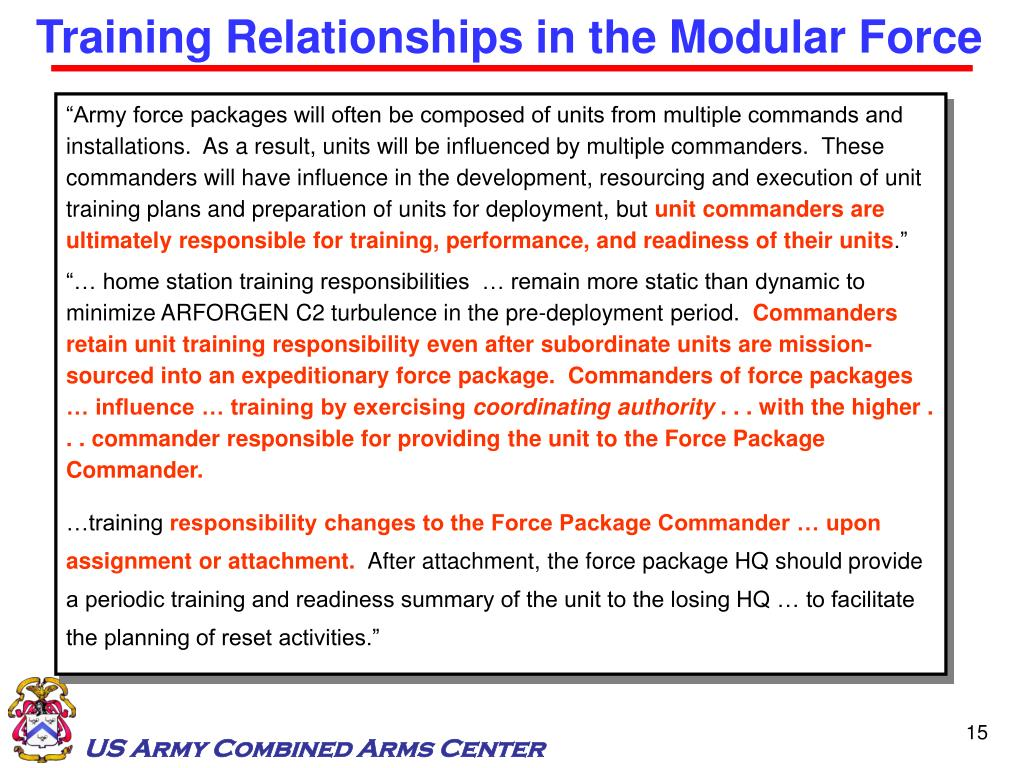 Training Relationships in the Modular Force