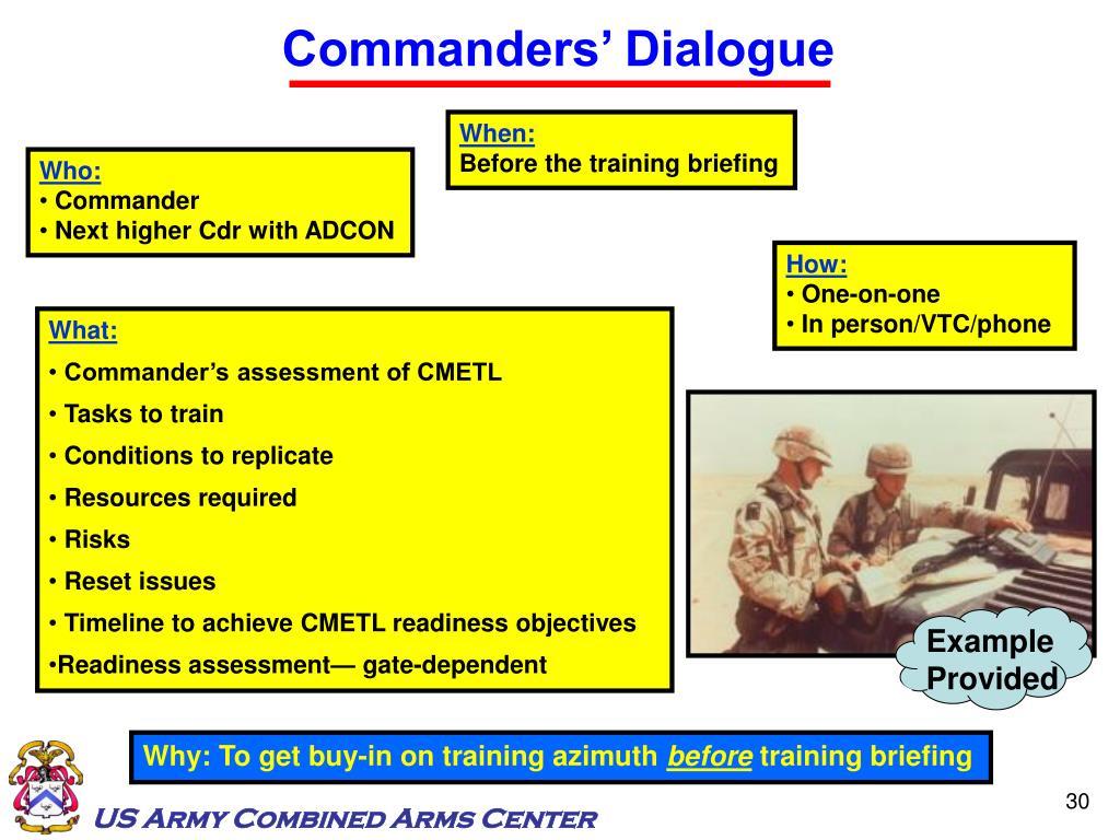 Commanders' Dialogue