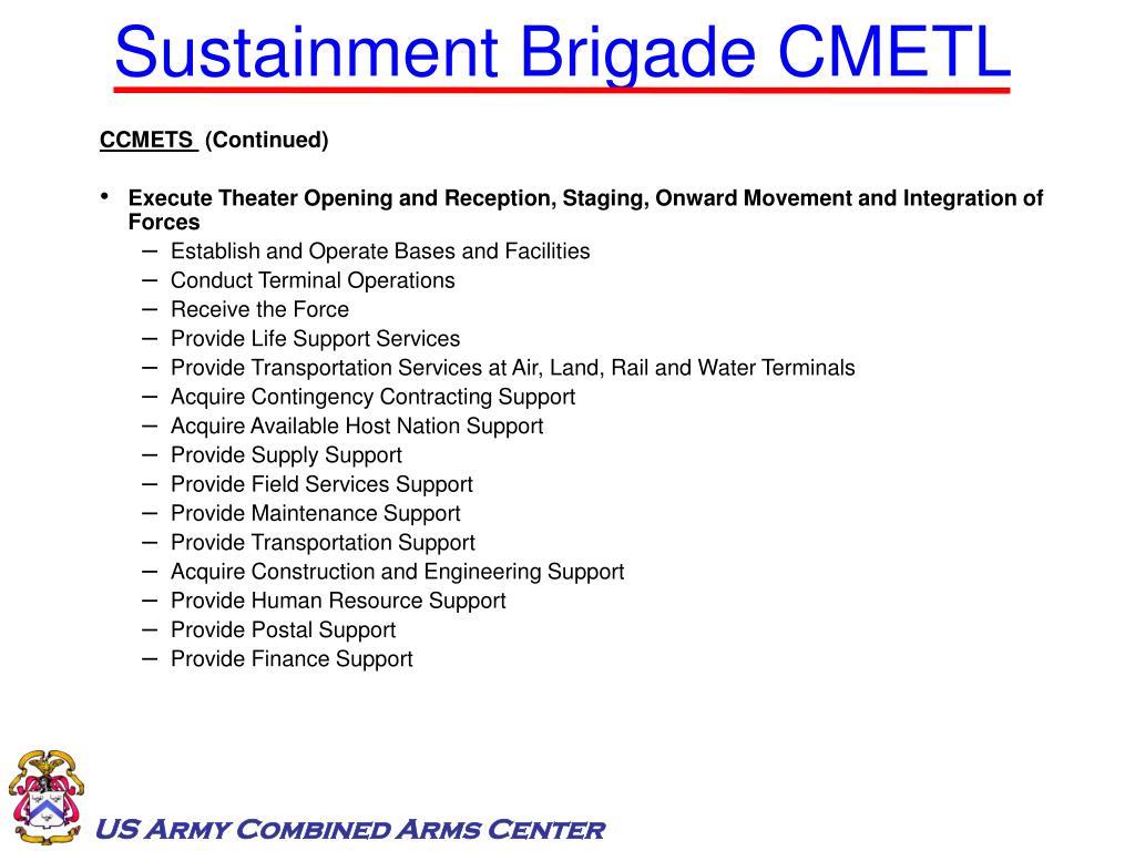 Sustainment Brigade CMETL