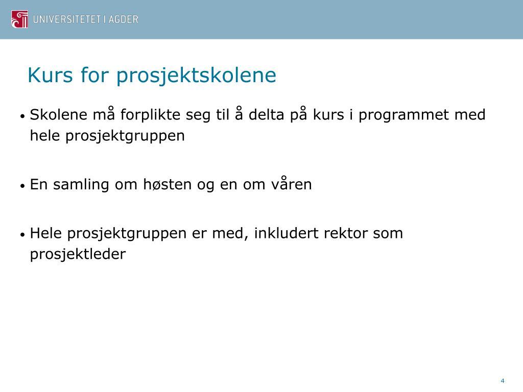 Kurs for prosjektskolene