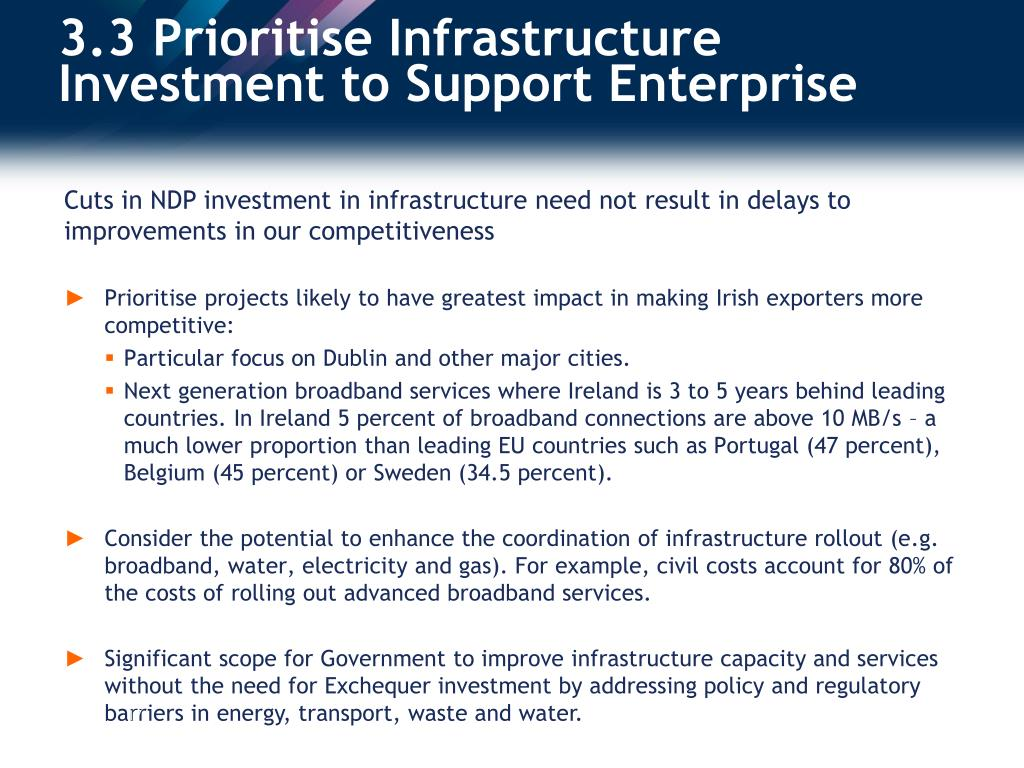 3.3 Prioritise Infrastructure Investment to Support Enterprise