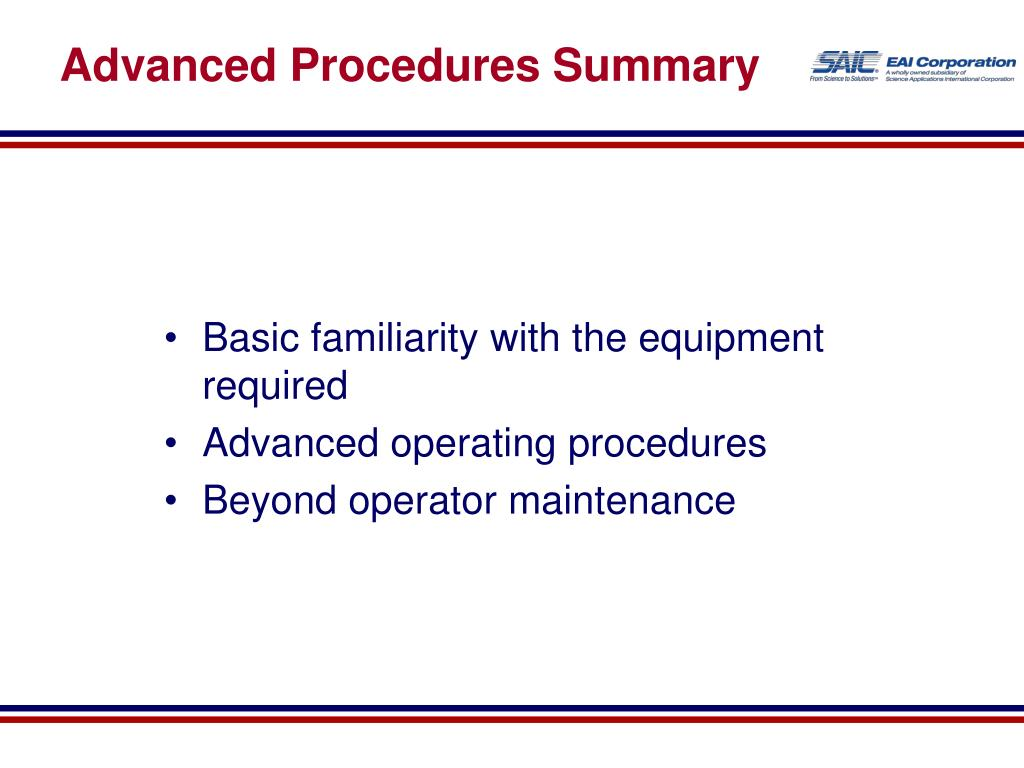 Advanced Procedures Summary