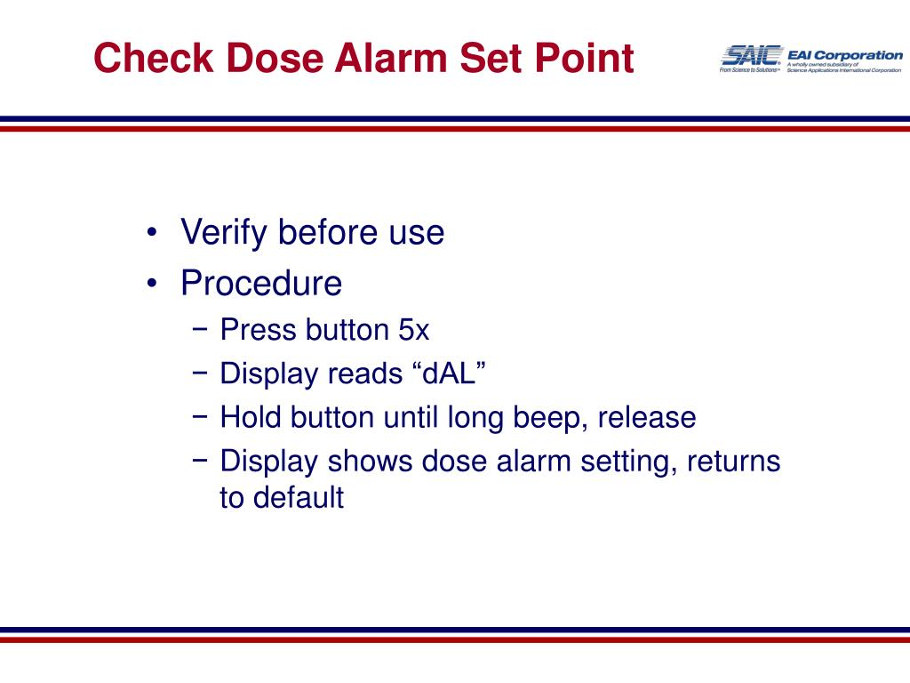 Check Dose Alarm Set Point