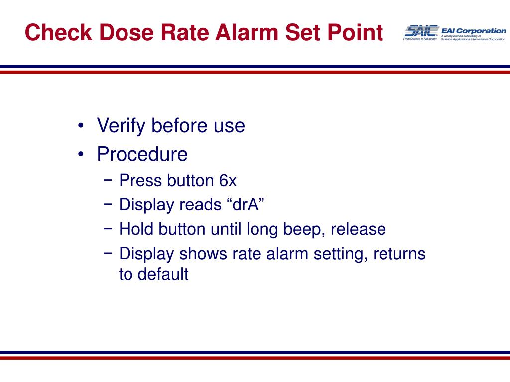 Check Dose Rate Alarm Set Point
