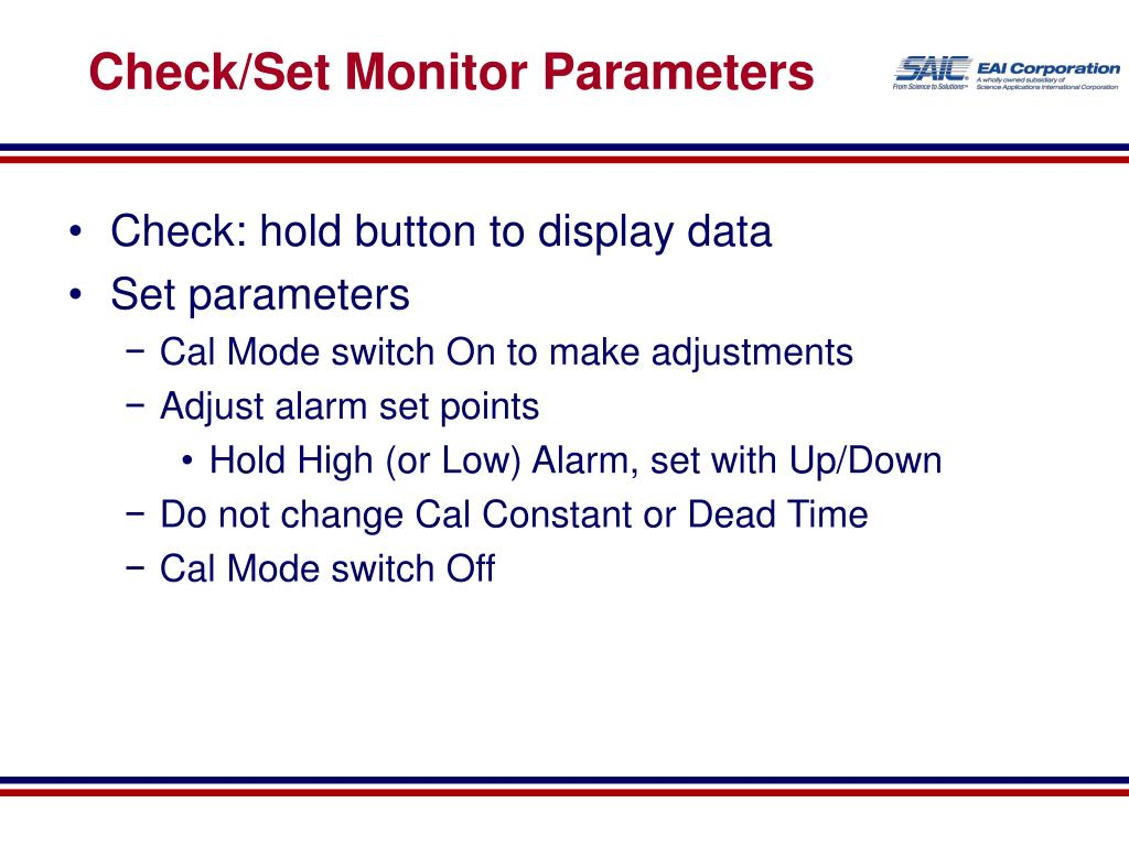 Check/Set Monitor Parameters