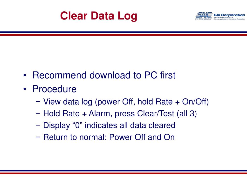 Clear Data Log