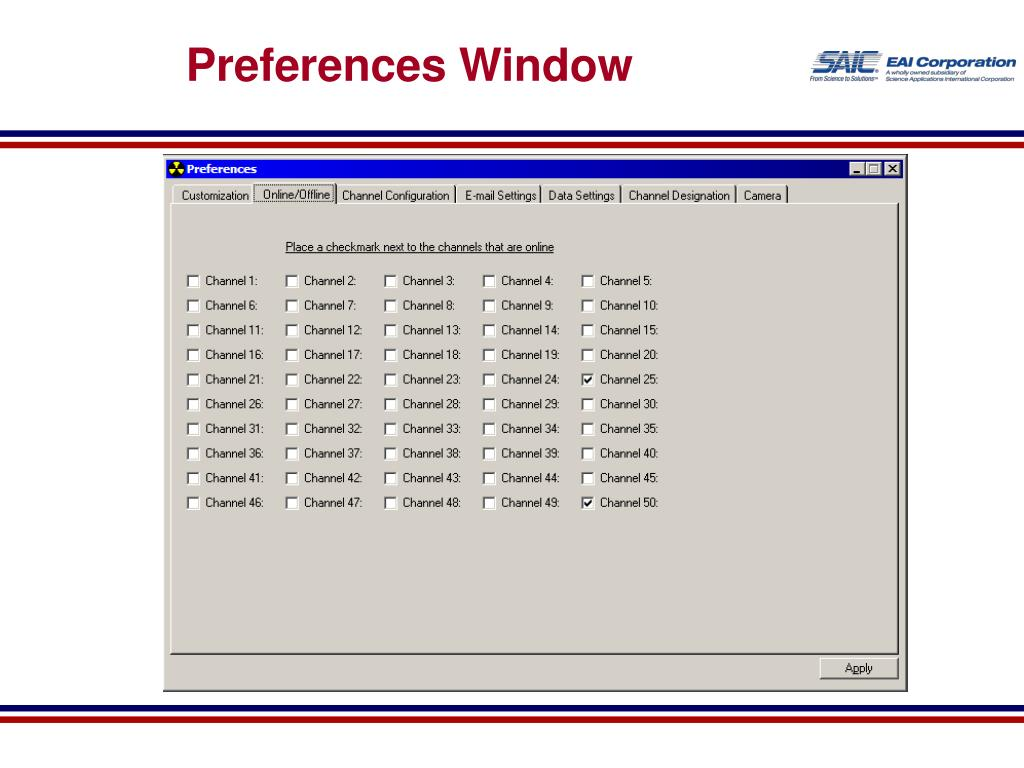 Preferences Window