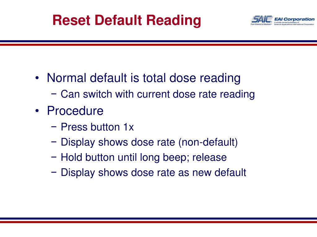Reset Default Reading