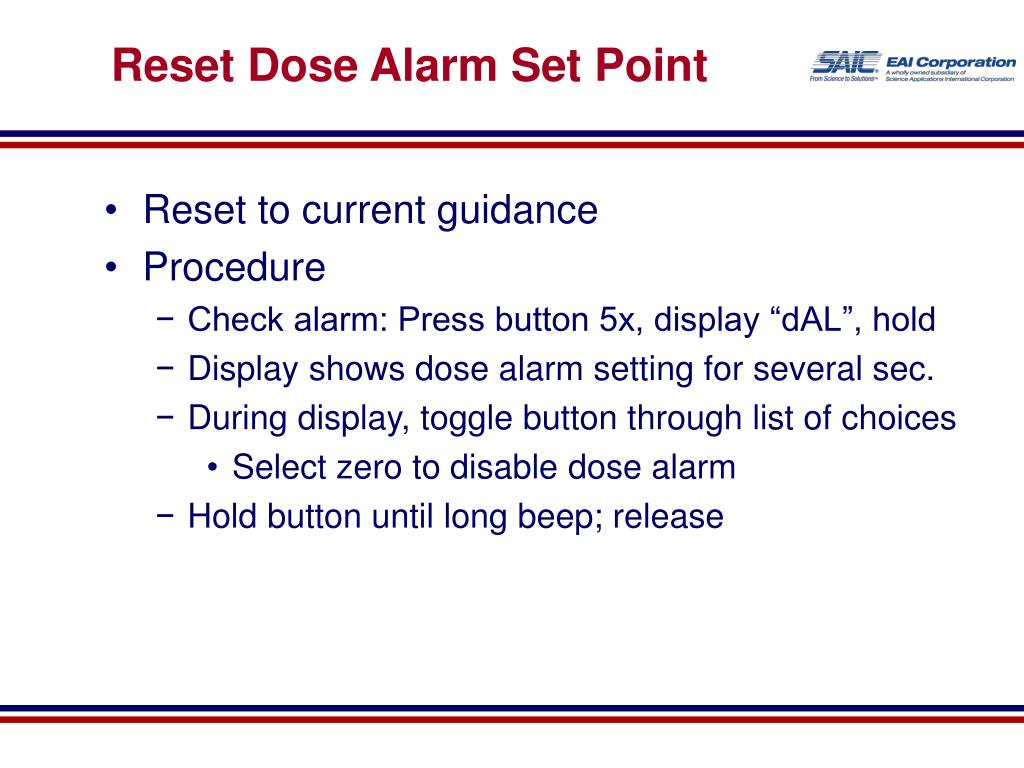 Reset Dose Alarm Set Point