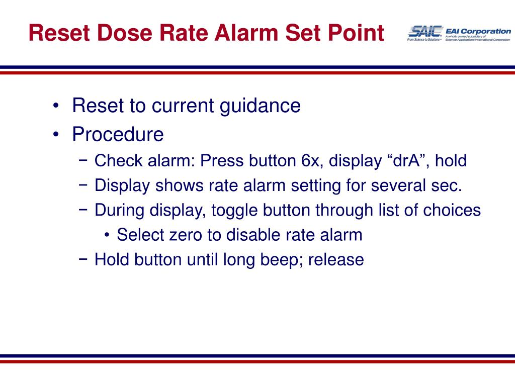 Reset Dose Rate Alarm Set Point