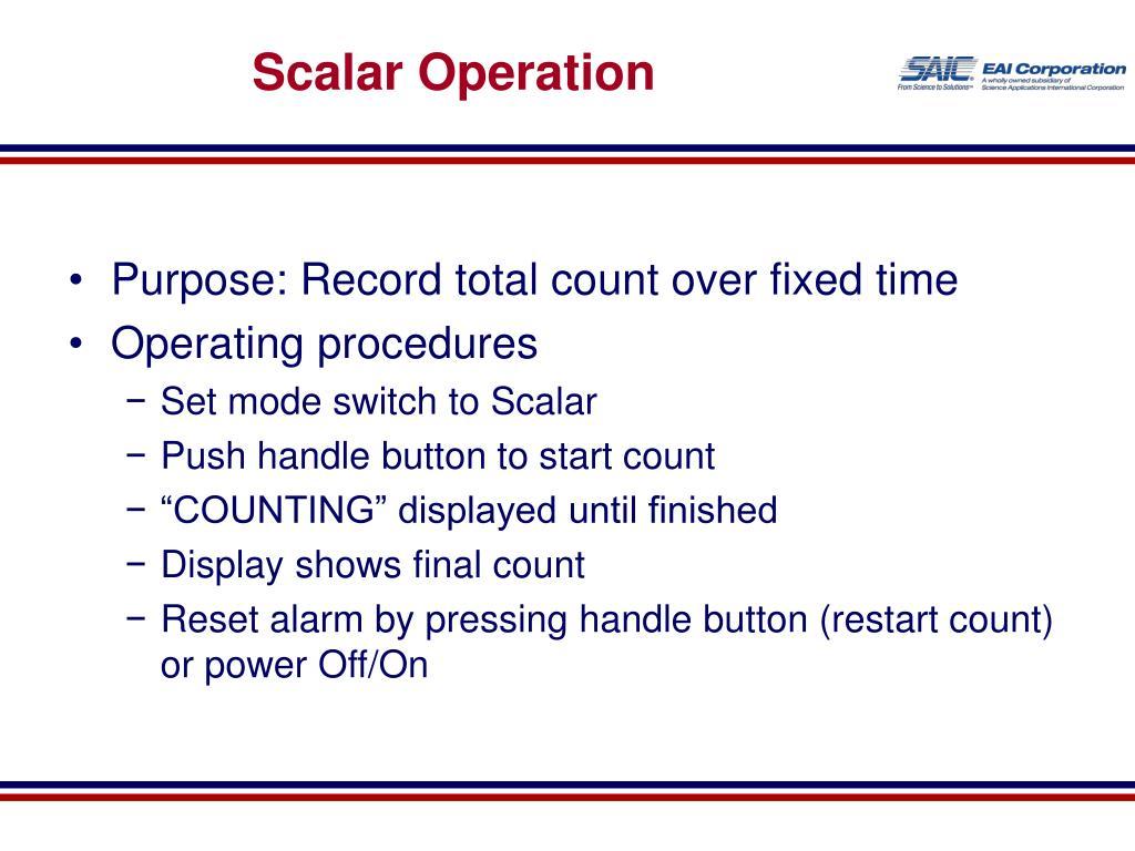 Scalar Operation