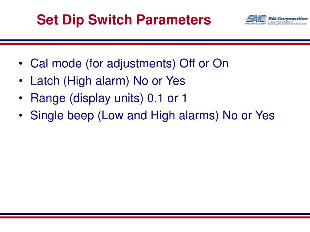 Set Dip Switch Parameters