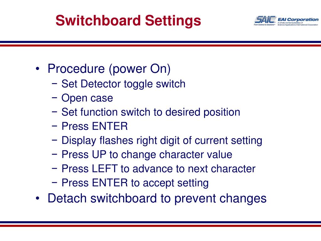 Switchboard Settings