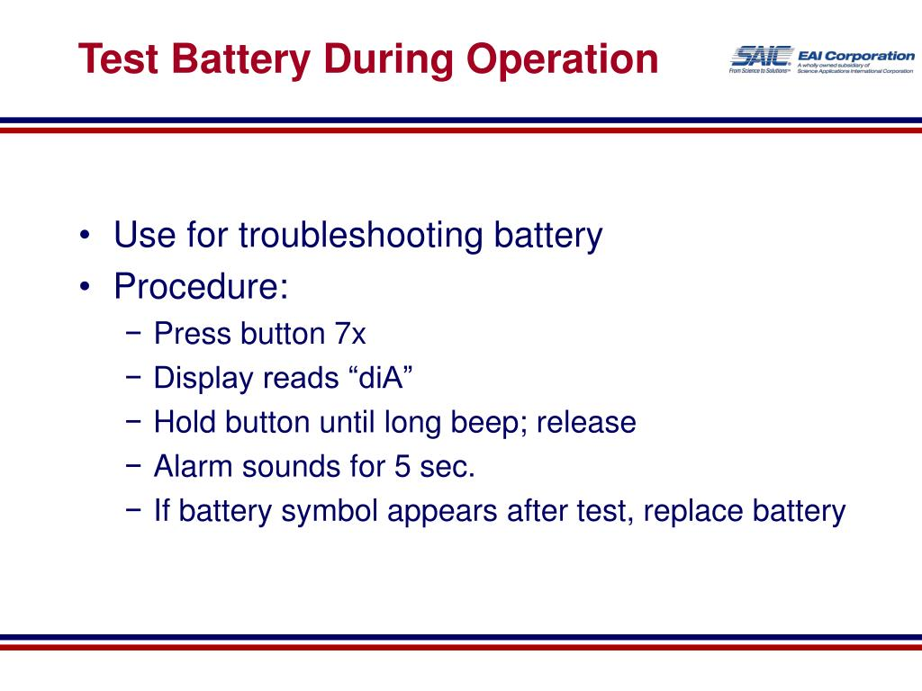 Test Battery During Operation