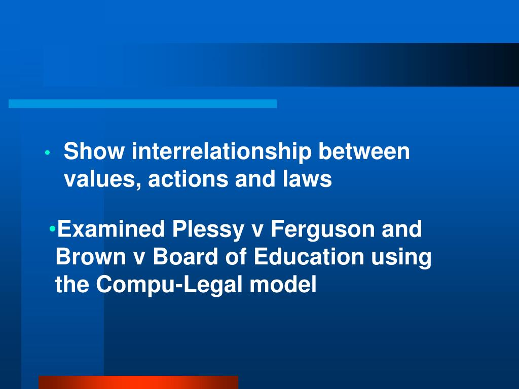 Show interrelationship between values, actions and laws
