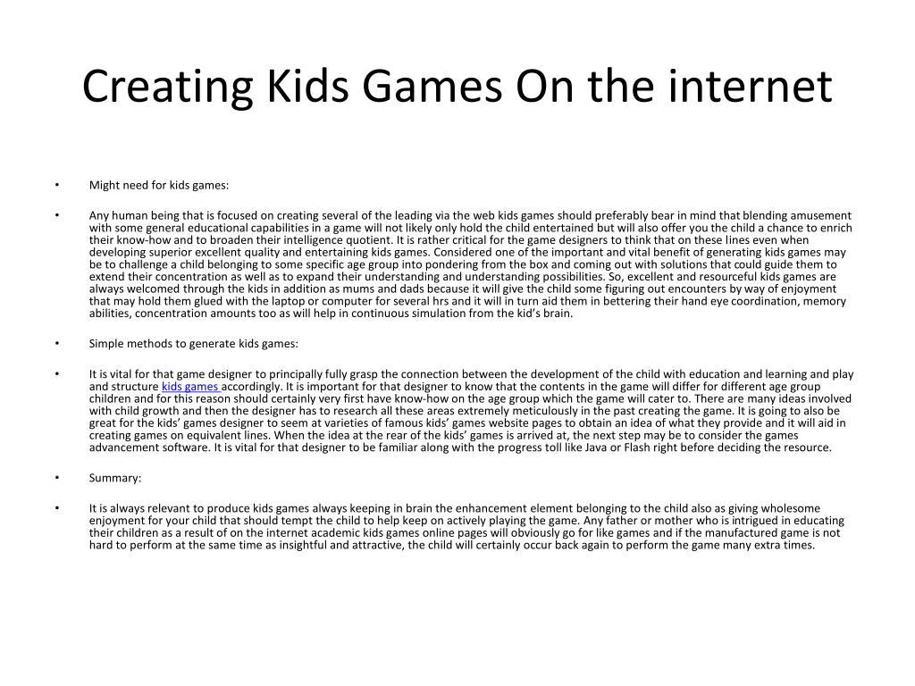 Creating Kids Games On the internet