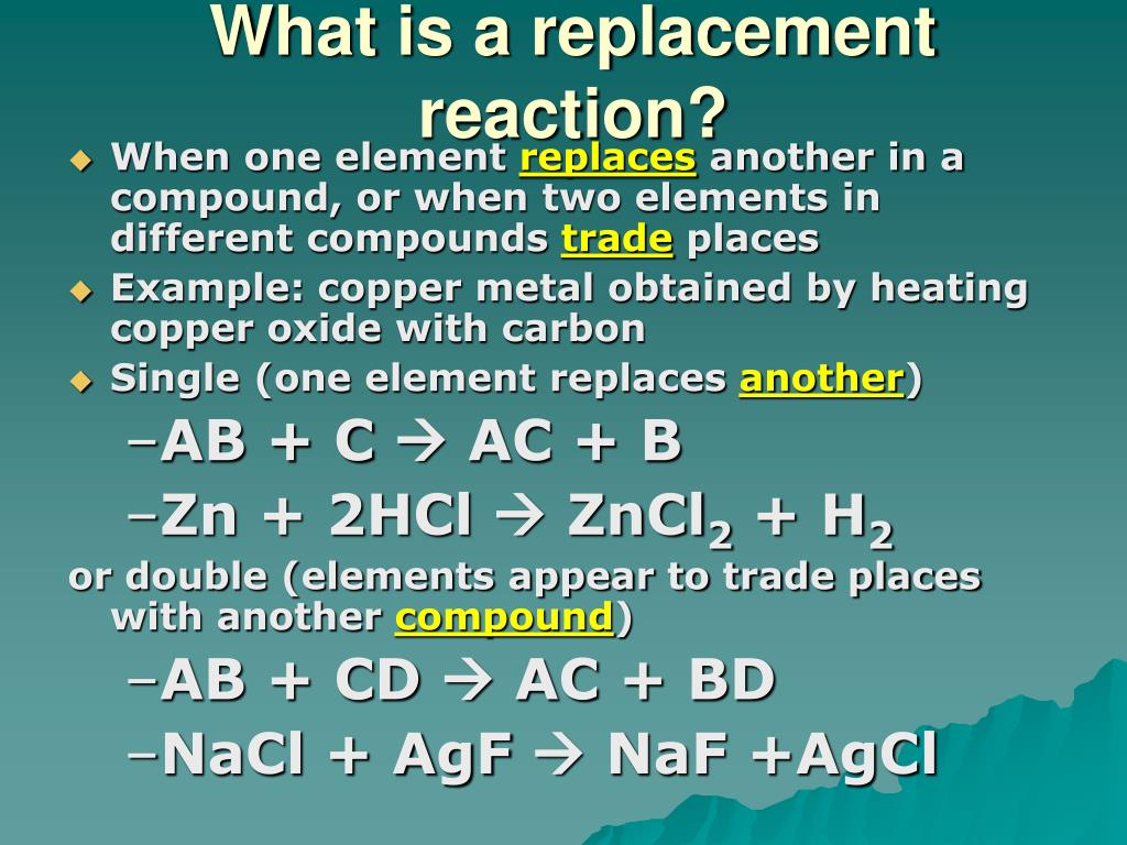 observing a single chemical reaction Purpose: two observe two different single displacement reactions hypothesis: when zinc is added to copper (ii) sulfate, a single displacement reaction will take place, creating a solid.