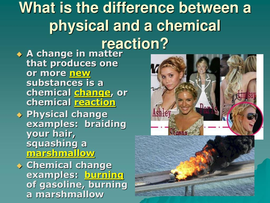 physical and chemical reactions 3 a physical reaction occurs when the matter stays the same but there is a change in size, shape, or appearance a chemical reaction occurs when the matter.