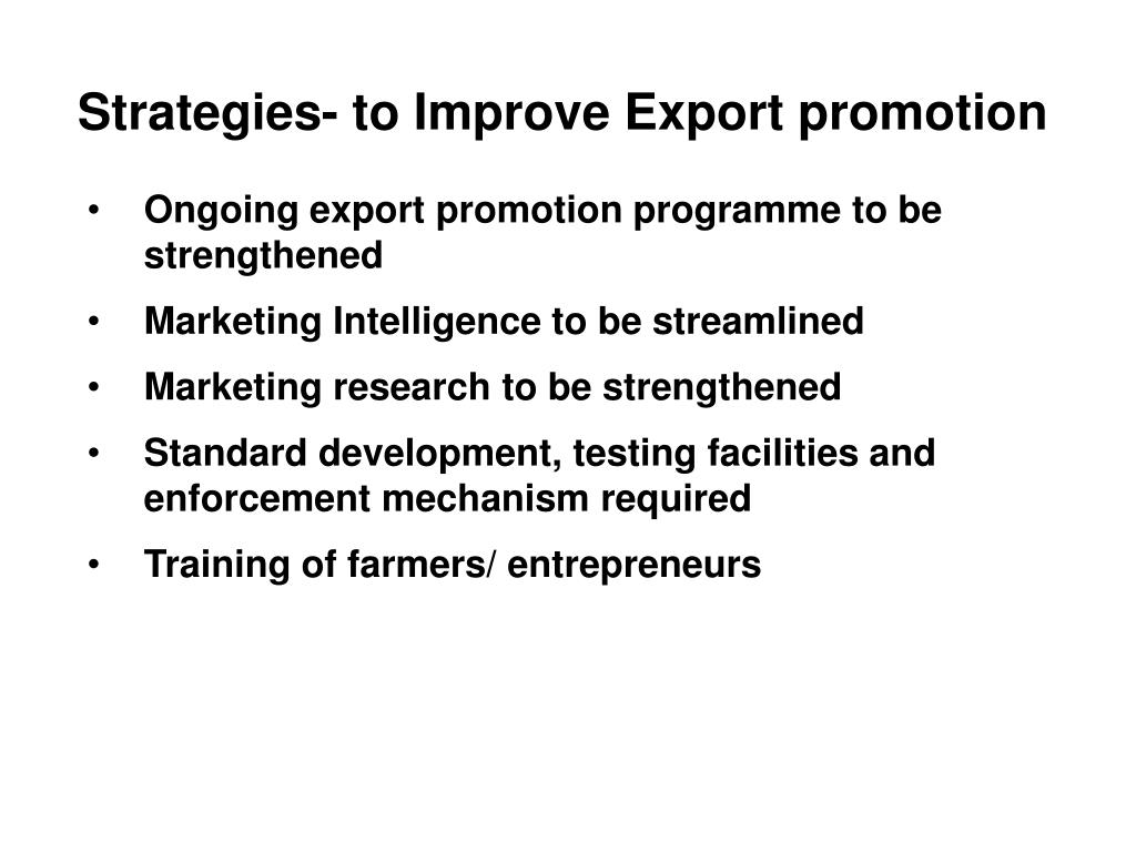 Strategies- to Improve Export promotion