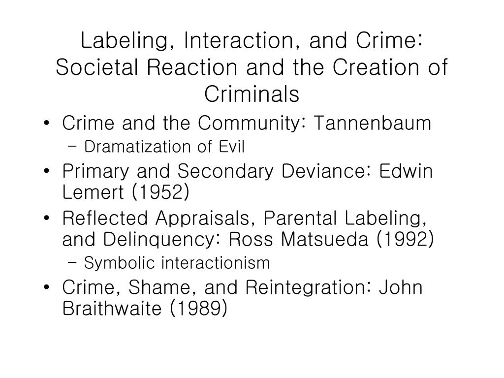 Labeling, Interaction, and Crime: Societal Reaction and the Creation of Criminals