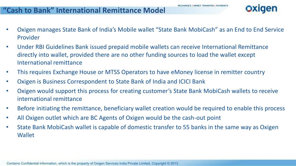 """Cash to Bank"" International Remittance Model"