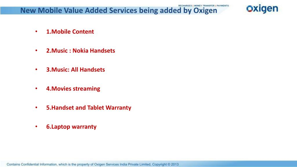 New Mobile Value Added Services being added by Oxigen
